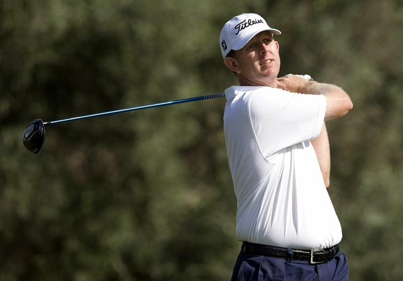 LAS VEGAS, NV - OCTOBER 23: Michael Connell hits his tee shot on the 16th hole during the third round of the Justin Timberlake Shriners Hospitals for Children Open on October 23, 2010 in Las Vegas, Nevada. (Photo by Steve Dykes/Getty Images)