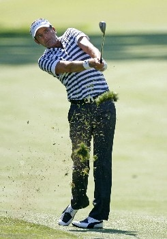 PARAMUS, NJ - AUGUST 23: Jesper Parnevik of Sweden hits his third shot on the 17th hole during the third round of The Barclays at Ridgewood Country Club on August 23, 2008 in Paramus, New Jersey. (Photo by Hunter Martin/Getty Images)