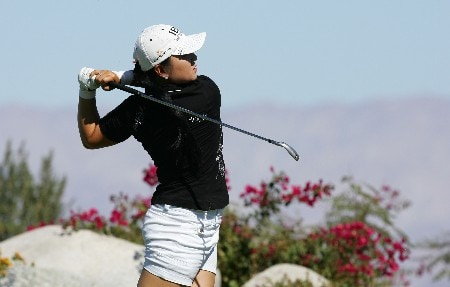 PALM DESERT, CA - OCTOBER 14:  Jeong Jang of South Korea makes a tee shot on the 16th hole during the final round of the LPGA Samsung World Championship at the Bighorn Golf Club on October 14, 2007 in Palm Desert, California.  (Photo by Robert Laberge/Getty Images)