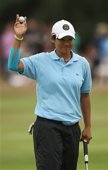 SUNNINGDALE, UNITED KINGDOM - AUGUST 03:  Ya-Ni Tseng of Taiwan acknowledges the crowd on the 18th green during the final round of the 2008 Ricoh Women's British Open held on the Old Course at Sunningdale Golf Club on Ausgust 3, 2008 in Sunningdale, England.  (Photo by Warren Little/Getty Images)