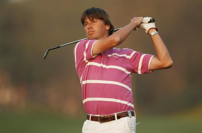 NEW DELHI, INDIA - FEBRUARY 19:  Robert-Jan Derksen of The Netherlands in action during the third round of the Avantha Masters held at The DLF Golf and Country Club on February 19, 2011 in New Delhi, India.  (Photo by Ian Walton/Getty Images)