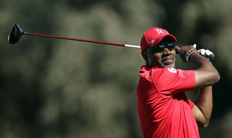 RANCHO MIRAGE, CA - MARCH 30:  Dennis Haysbert  during the pro-am for the 2011 Kraft Nabisco Championship on the Dinah Shore Championship Course at the Mission Hills Country Club on March 30, 2011 in Rancho Mirage, California.  (Photo by David Cannon/Getty Images)