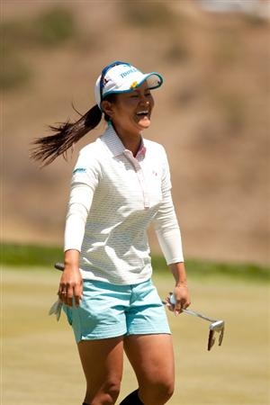 MORELIA, MEXICO - APRIL 29: Ai Miyazato of Japan smiles after setting the course record with a 10-under par 63 in the first round of the Tres Marias Championship at the Tres Marias Country Club on April 29, 2010 in Morelia, Mexico. (Photo by Darren Carroll/Getty Images)
