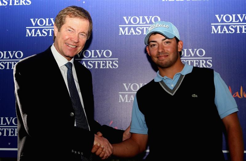 SOTOGRANDE, SPAIN - NOVEMBER 02:  George O'Grady, European Tour Chief Executive with Pablo Larrazbal of Spain after the final round of the Volvo Masters at the Valderrama Golf Club on November 2, 2008 in Sotogrande, Spain.  (Photo by Ross Kinnaird/Getty Images)