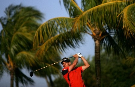 MIAMI - MARCH 19:  Luke Donald of England tees off on the 11th hole during practice for the 2008 World Golf Championships CA Championship at the Doral Golf Resort & Spa, on March 19, 2008 in Miami, Florida.  (Photo by Warren Little/Getty Images)