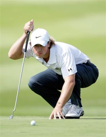 OVERLAND PARK, KS - AUGUST 20:  Garrett Osborn of the the U.S. lines up a putt on the seventh hole during the first round of the Nationwide Tour Christmas in October Classic on August 20, 2009 at Lions Gate Golf Club in Overland Park, Kansas.  (Photo by Jamie Squire/Getty Images)