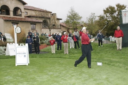 Champions Tour player Peter Jacobsen hits a ceremonial tee shot with the persimmon driver to promote the 'Drive To A Billion' campaign Wednesday October 26, during the 2005 Schwab Cup Championship at Sonoma Golf Club - Sonoma, California.Photo by Chris Condon/PGA TOUR/WireImage.com