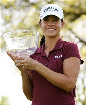 CORNING, NY - MAY 25:  Leta Lindley smiles while holding the trophy she won during the final round of the LPGA Corning Classic at Corning Country Club on May 25, 2008 in Corning, New York.  (Photo by Kyle Auclair/Getty Images)