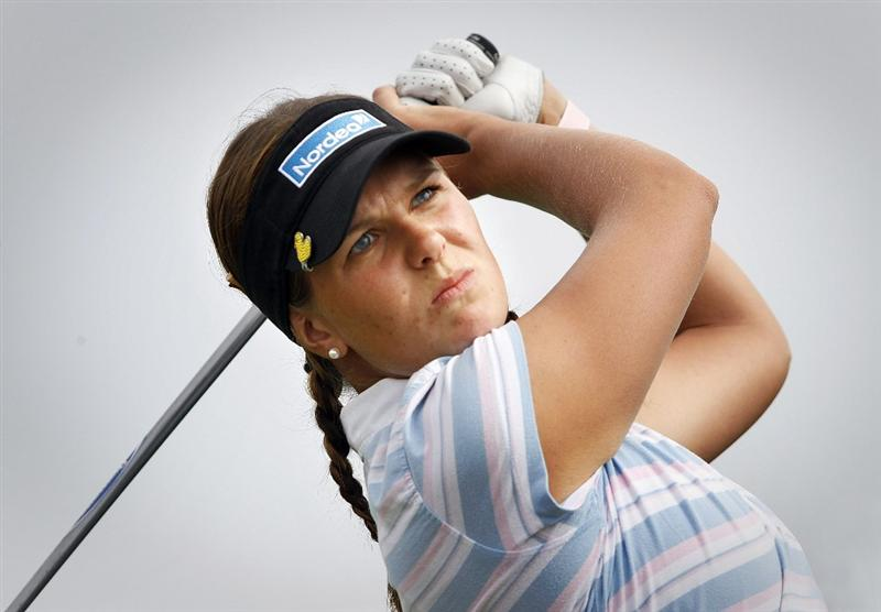 PEGASUS, NEW ZEALAND - FEBRUARY 28:  Marianne Skarpnord of Norway tees off during the final round of the New Zealand Women's Open at Pegasus Golf Course on February 28, 2010 in Pegasus, New Zealand.  (Photo by Martin Hunter/Getty Images)
