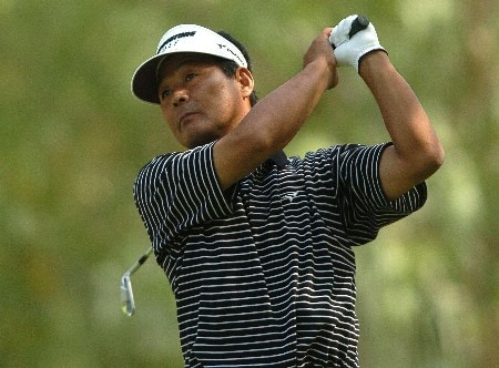 Hajime Meshiai tees off on the 14th hole during the second round of the Champions' Tour 2005 SBC Classic at  the Valencia Country Club in Valencia, California March 12, 2005.