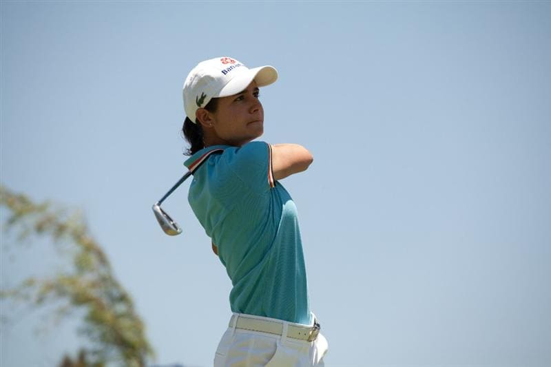 MORELIA, MEXICO - APRIL 30: Lorena Ochoa of Mexico follows through on a tee shot during the second round of the Tres Marias Championship at the Tres Marias Country Club on April 30, 2010 in Morelia, Mexico. (Photo by Darren Carroll/Getty Images)