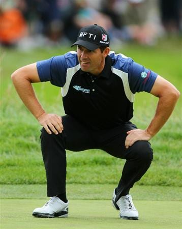 PEBBLE BEACH, CA - JUNE 18:  Padraig Harrington of Ireland lines up a putt on the first hole during the second round of the 110th U.S. Open at Pebble Beach Golf Links on June 18, 2010 in Pebble Beach, California.  (Photo by Donald Miralle/Getty Images)
