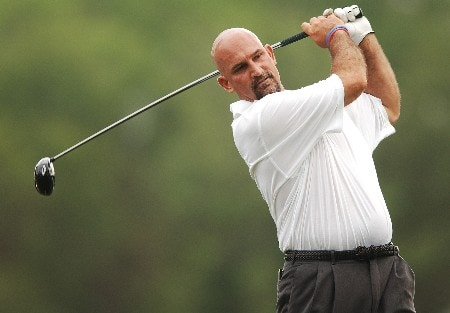 Marco Dawson hits from the 12th tee during the first round of the 2005 Shell Houston Open at the Redstone Golf Club in Houston, Texas April 21, 2005.Photo by Steve Grayson/WireImage.com