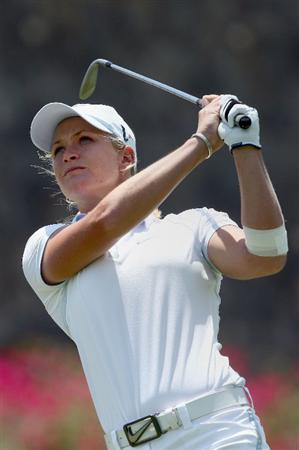 MORELIA, MEXICO- APRIL 26:  Suzann Pettersen of Norway tees off the 6th hole during the final round of the Corona Championship at the Tres Marias Residential Golf Club on April 26, 2009 in Morelia, Michoacan, Mexico. (Photo by Donald Miralle/Getty Images)