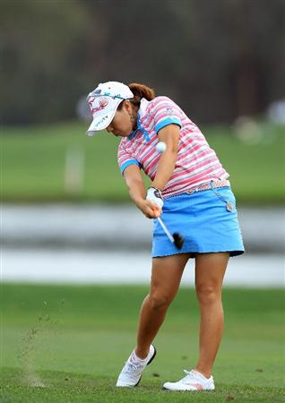 RANCHO MIRAGE, CA - APRIL 02:  Mika Miyazato plays her third shot at the par 5, 18th hole during the third round of the 2011 Kraft Nabisco Championship on the Dinah Shore Championship Course at the Mission Hills Country Club on April 2, 2011 in Rancho Mirage, California.  (Photo by David Cannon/Getty Images)