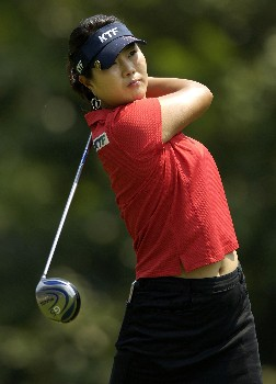 WILLIAMSBURG, VA - MAY 12:  Meena Lee of South Korea hits her tee shot at the 7th hole in Round 3 of the LPGA Michelob ULTRA Open at Kingsmill on May 12, 2007, in Williamsburg, Virginia.  (Photo by Jonathan Ernst/Getty Images)