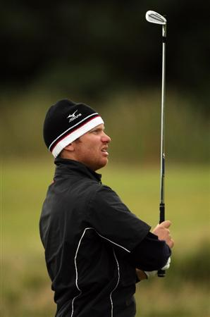 CARNOUSTIE, UNITED KINGDOM - OCTOBER 04:  Magnus A. Carlsson of Sweden plays off the seventh tee during the third round of The Alfred Dunhill Links Championship at Carnoustie Golf Club on October 4, 2008 in Carnoustie, Scotland.  (Photo by Warren Little/Getty Images)
