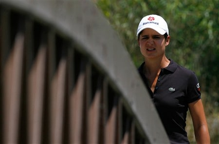 MORELIA, MEXICO - APRIL 11:  Lorena Ochoa of Mexico walks across a bridge to the eighth green during the second round of the Corona Championship at Tres Marias Club de Golf April 11, 2008 in Morelia, Michoacan, Mexico.  (Photo by Kevin C. Cox/Getty Images)