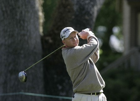 Kent Jones tees off from the third hole during the third round of the MCI Heritage at Harbour Town Golf Links at Hilton Head Island, April 16, 2005.Photo by Kevin Cox/WireImage.com