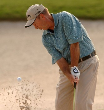 Larry Nelson hits from a greenside bunker on the 14th during the first round of the Administaff Small Business Classic at Augusta Pines Golf Club, in Spring, Texas October 14, 2005.Photo by Steve Grayson/WireImage.com