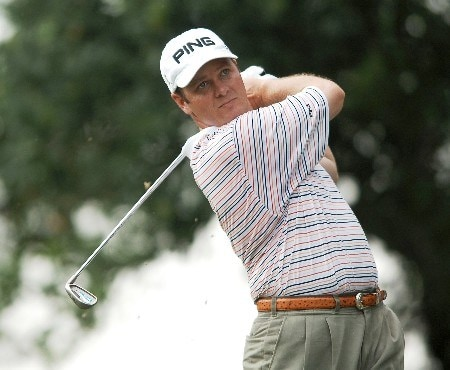 Ted Purdy hits from the ninth tee during the second round of the 2005 Bank of America Colonial at Colonial Country Club in Forth Worth, Texas May 20, 2005.Photo by Steve Grayson/WireImage.com