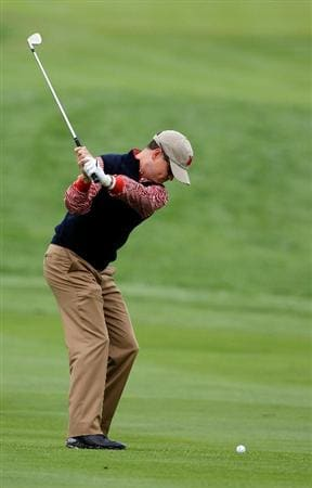 NEWPORT, WALES - SEPTEMBER 30:  Zach Johnson of the USA hits a shot during a practice round prior to the 2010 Ryder Cup at the Celtic Manor Resort on September 30, 2010 in Newport, Wales.  (Photo by Sam Greenwood/Getty Images)