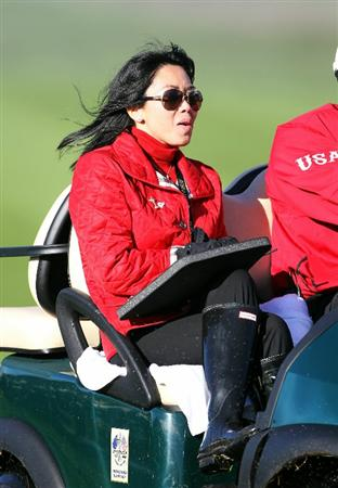 NEWPORT, WALES - OCTOBER 04:  USA Team Captain Corey Pavin's wife Lisa rides in a buggy during the singles matches during the 2010 Ryder Cup at the Celtic Manor Resort on October 4, 2010 in Newport, Wales.  (Photo by Jamie Squire/Getty Images)