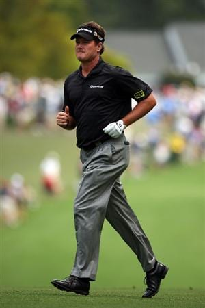 AUGUSTA, GA - APRIL 11:  Todd Hamilton runs across the first fairway during the third round of the 2009 Masters Tournament at Augusta National Golf Club on April 11, 2009 in Augusta, Georgia.  (Photo by Andrew Redington/Getty Images)