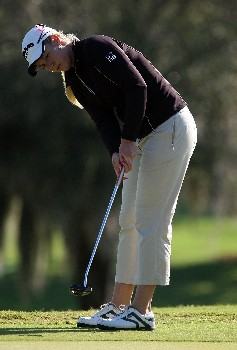 WEST PALM BEACH, FL - NOVEMBER 16:  Brittany Lincicome hits a putt on the second green during the second round of the 2007 ADT Championship at the Trump International Golf Club on November 16, 2007 in West Palm Beach, Florida  (Photo by Scott Halleran/Getty Images)