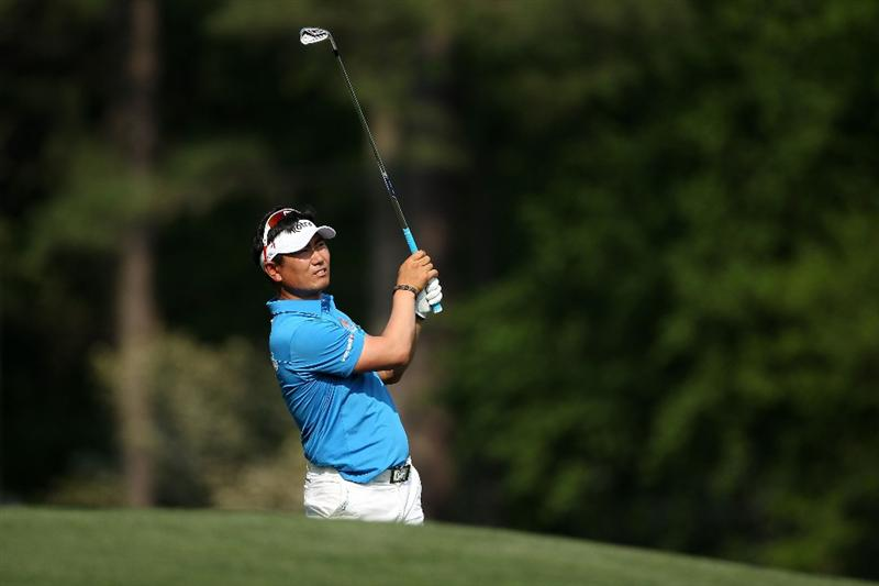 AUGUSTA, GA - APRIL 09:  Y.E. Yang of South Korea watches his tee shot on the 12th hole during the third round of the 2011 Masters Tournament at Augusta National Golf Club on April 9, 2011 in Augusta, Georgia.  (Photo by Andrew Redington/Getty Images)