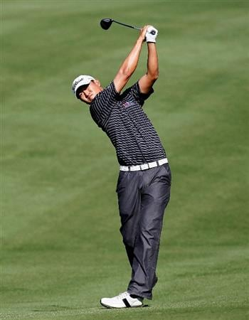 ATHENS, GA - APRIL 30:  James Hahn plays his second shot from the 12th fairway during the second round of the 2010 Stadion Athens Classic at the University of Georgia Golf Course on April 30, 2010 in Athens, Georgia.  (Photo by Kevin C. Cox/Getty Images)