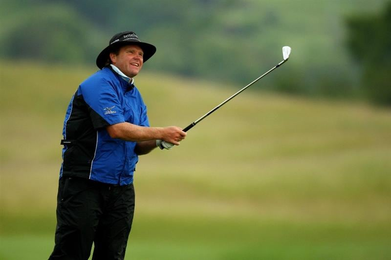 NEWPORT, WALES - JUNE 06:  Alan McLean of Scotland hits a shot on the 1st during the third round of the Celtic Manor Wales Open on the 2010 Course at The Celtic Manor Resort on June 6, 2009 in Newport, Wales.  (Photo by Richard Heathcote/Getty Images)