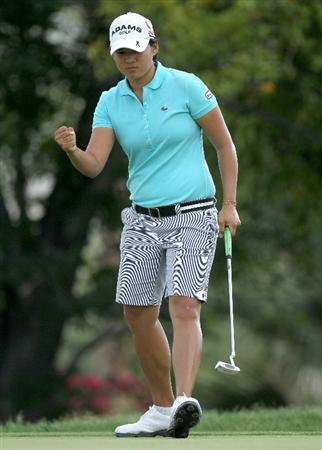 RANCHO MIRAGE,CA - APRIL 2:  Yani Tseng of Taiwan reacts as she makes a birdie putt on the 15th hole during the third round of the Kraft Nabisco Championship at Mission Hills Country Club on April 2, 2011 in Rancho Mirage, California.  (Photo by Stephen Dunn/Getty Images)