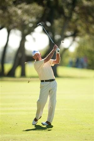 SAN ANTONIO, TX - OCTOBER 29: Larry Nelson follows through on an approach shot during the first round of the AT&T Championship at Oak Hills Country Club on October 29, 2010 in San Antonio, Texas. (Photo by Darren Carroll/Getty Images)