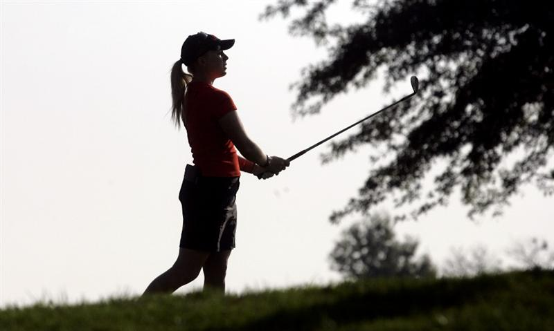 ROGERS, AR - SEPTEMBER 11:  Morgan Pressel hits her approach shot to the first green during first round play in the P&G Beauty NW Arkansas Championship at the Pinnacle Country Club on September 11, 2009 in Rogers, Arkansas.  (Photo by Dave Martin/Getty Images)