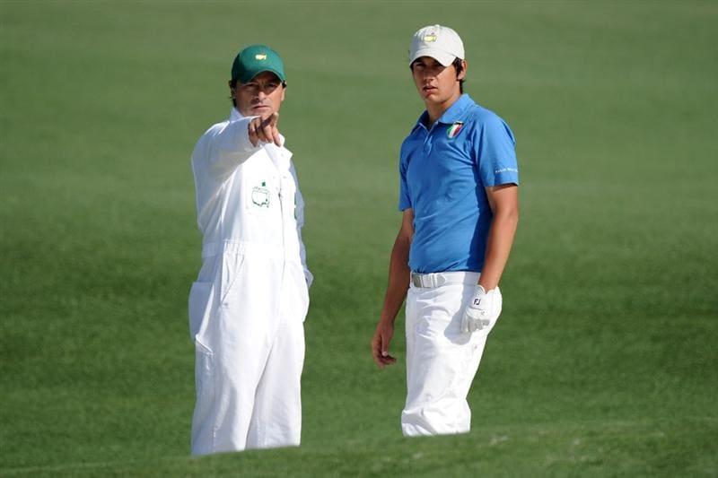 AUGUSTA, GA - APRIL 08:  Matteo Manassero of Italy (R) talks with his caddie Alberto Binaghi on the second fairway during the first round of the 2010 Masters Tournament at Augusta National Golf Club on April 8, 2010 in Augusta, Georgia.  (Photo by Harry How/Getty Images)