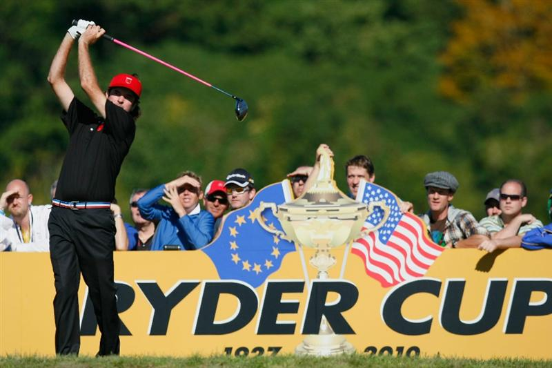 NEWPORT, WALES - OCTOBER 04:  Bubba Watson of the USA tees off in the singles matches during the 2010 Ryder Cup at the Celtic Manor Resort on October 4, 2010 in Newport, Wales.  (Photo by Tom Dulat/Getty Images)