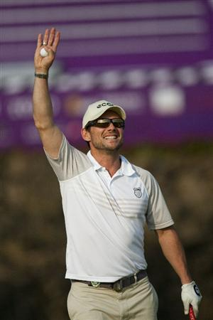 HAIKOU, CHINA - OCTOBER 30:  Actor Christian Slater in action during day four of the Mission Hills Start Trophy tournament at Mission Hills Resort on October 30, 2010 in Haikou, China. The Mission Hills Star Trophy is Asia's leading leisure liflestyle event which features Hollywood celebrities and international golf stars.  (Photo by Athit Perawongmetha/Getty Images for Mission Hills)