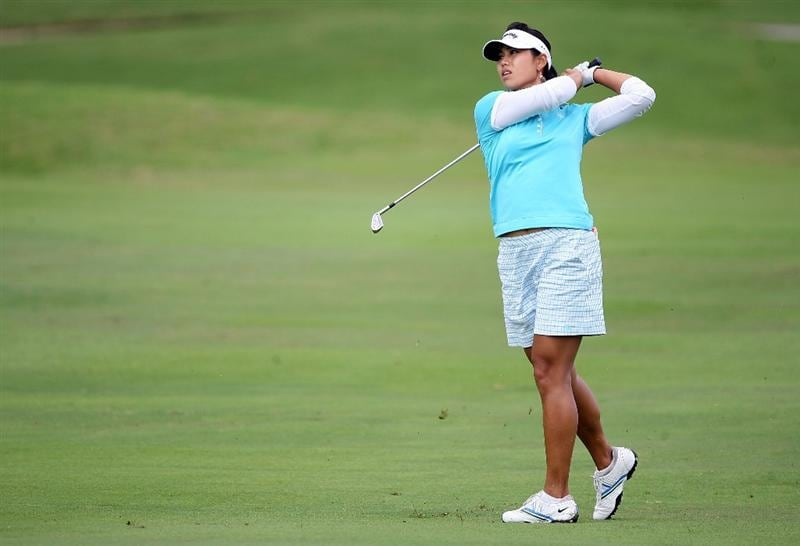 KAHUKU, HI - FEBRUARY 12:  Jeehae Lee hits her second shot on the 2nd hole during the first round of the SBS Open on February 12, 2009  at the Turtle Bay Resort in Kahuku, Hawaii.  (Photo by Andy Lyons/Getty Images)