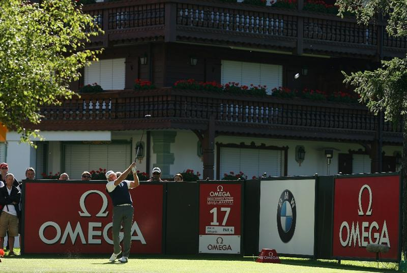 CRANS, SWITZERLAND - SEPTEMBER 03:  Greg Norman of Australia tees off on the 17th hole during the second round of The Omega European Masters at Crans-Sur-Sierre Golf Club on September 3, 2010 in Crans Montana, Switzerland.  (Photo by Warren Little/Getty Images)