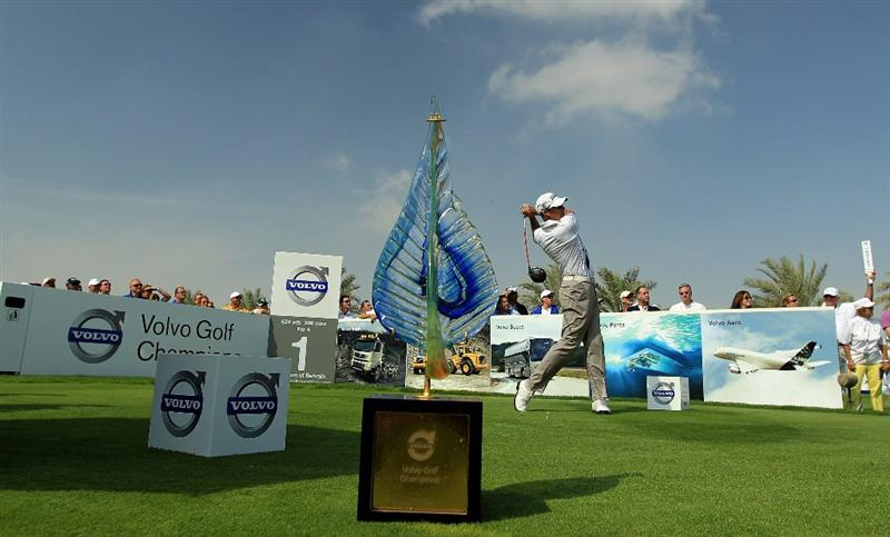 BAHRAIN, BAHRAIN - JANUARY 30:  James Kingston of South Africa plays his tee shot at the 1st hole during the final round of the 2011 Volvo Champions held at the Royal Golf Club on January 30, 2011 in Bahrain, Bahrain.  (Photo by David Cannon/Getty Images)