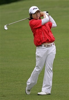 WILLIAMSBURG, VA - MAY 8: Eun-Hee Ji of Korea hits her second shot on the 8th hole during the first round of the Michelob Ultra Open at Kingsmill Resort & Spa on May 8, 2008 in Williamsburg, Virginia. (Photo by Hunter Martin/Getty Images)
