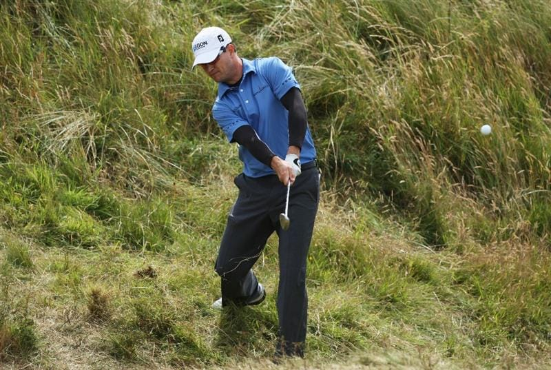 TURNBERRY, SCOTLAND - JULY 18:   Zach Johnson of USA hits his second shot on the 5th hole during round three of the 138th Open Championship on the Ailsa Course, Turnberry Golf Club on July 18, 2009 in Turnberry, Scotland.  (Photo by David Cannon/Getty Images)
