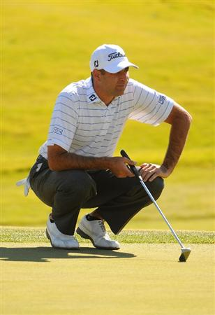 LAS VEGAS - OCTOBER 17:  Marc Turnesa lines up a par putt on the 9th hole during the second round of the Justin Timberlake Shriners Hospitals for Children Open held at the TPC Summerlin on Friday, October 17, 2008 in Las Vegas, Nevada. (Photo by Marc Feldman/Getty Images)