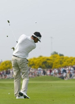 Jean Van de Velde (FRA) hits a fairway drive  during the fourth and final round of the Open de France as part of the European PGA circuit at St Quentin near Paris, France 26 JUNE 2005Photo by Alexanderk/WireImage.com