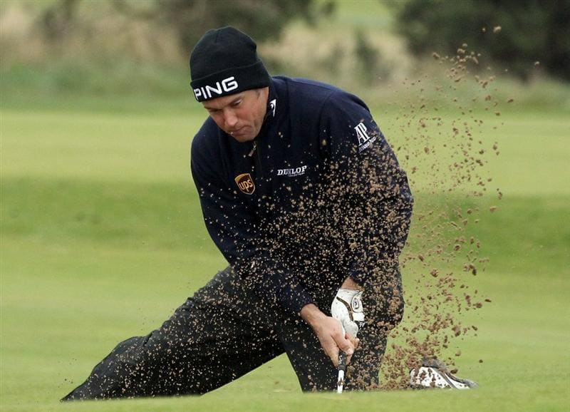 CARNOUSTIE, SCOTLAND - OCTOBER 09:  Lee Westwood of England plays his second shot out of a bunker on the 13th hole during the third round of The Alfred Dunhill Links Championship at the Carnoustie Golf Links on October 9, 2010 in Carnoustie, Scotland.  (Photo by David Cannon/Getty Images)