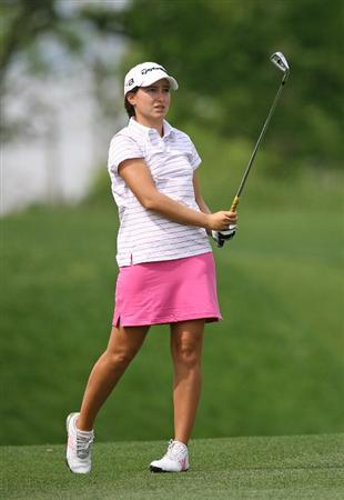 WILLIAMSBURG, VA - MAY 8 : Victoria Tanco of Argentina hits her second shot on the 18th hole during the second round of the Michelob Ultra Open at Kingsmill Resort on May 8, 2009 in Williamsburg, Virgina. (Photo by Hunter Martin/Getty Images)