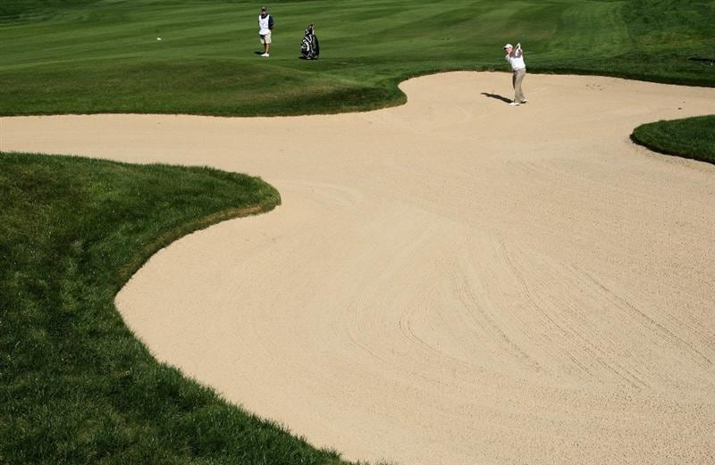 VILAMOURA, PORTUGAL - OCTOBER 16:  Stephen Gallacher of Scotland plays out of the first fairway bunker during the first round of the Portugal Masters at the Oceanico Victoria Golf Course on October 16, 2008 in Vilamoura, Portugal.  (Photo by Warren Little/Getty Images)