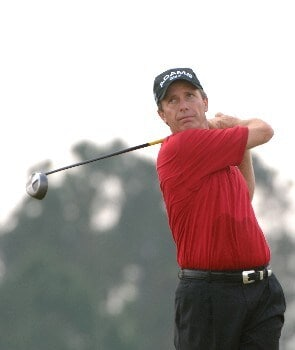 Jerry Pate  drives from the fourth tee  during   the final  round of the 2005 Blue Angels Class  May 15 in Milton, Fl.Photo by Al Messerschmidt/WireImage.com