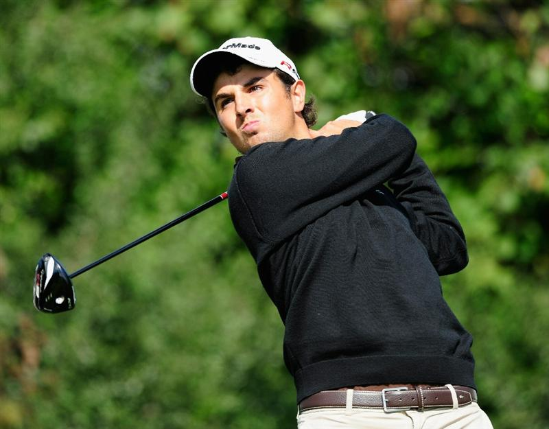 VIENNA, AUSTRIA - SEPTEMBER 16:  Jordi Garcia of Spain plays his tee shot on the 18th hole during the first round of the Austrian golf open presented by Botarin at the Diamond country club on September 16, 2010 in Atzenbrugg near Vienna, Austria.  (Photo by Stuart Franklin/Getty Images)
